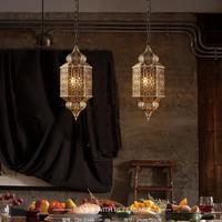 Ретро в рыбацком Стиле Фонарь Европейский творческий подвесной светильник led кафе Юго Восточной Руководство металлические полые лампа жел