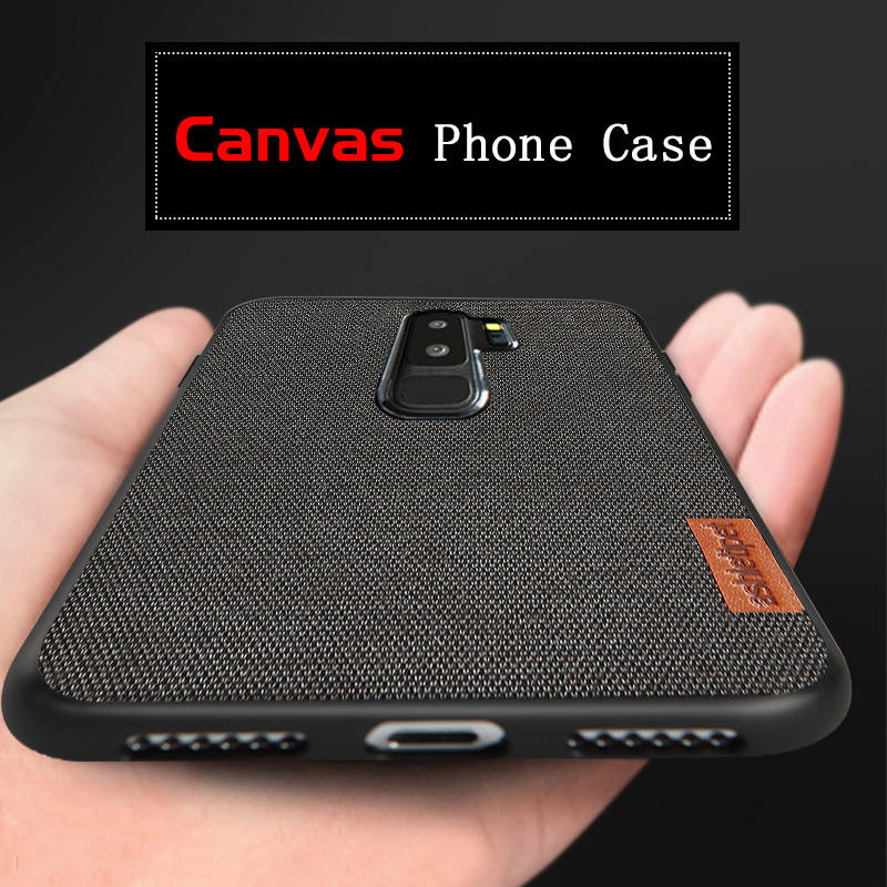 Canvas Phone Case For Samsung Galaxy S9 S8 Plus S7 Edge Note 9 8 A7 A8 J5 J7 Shockproof Men Business Vintage Cloth Fabric Capas