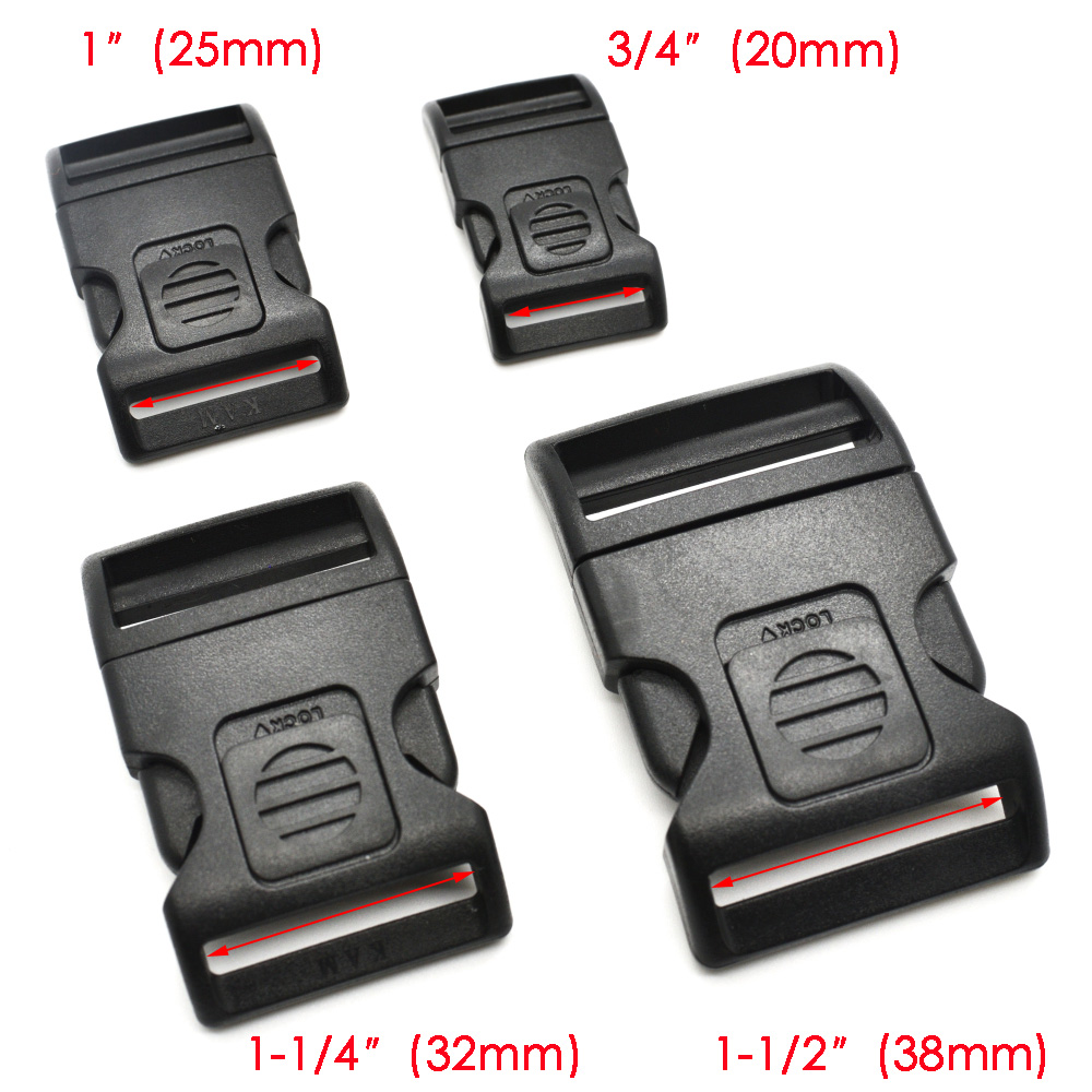1pcs/pack Plastic Side Release Buckle Black For Backpack Luggage Webbing 20mm 25mm  32mm 38mm