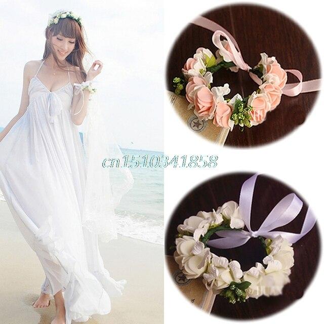 BOHO Style Artificial Flower Bracelet Floral Bridal Wristband Wedding Wreath Decor Party Y51
