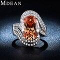 MDEAN Branco Banhado A Ouro anéis para as mulheres jóias de Âmbar gem embutidos AAA CZ diamante mulheres anéis De casamento jóias de Noivado MSR240