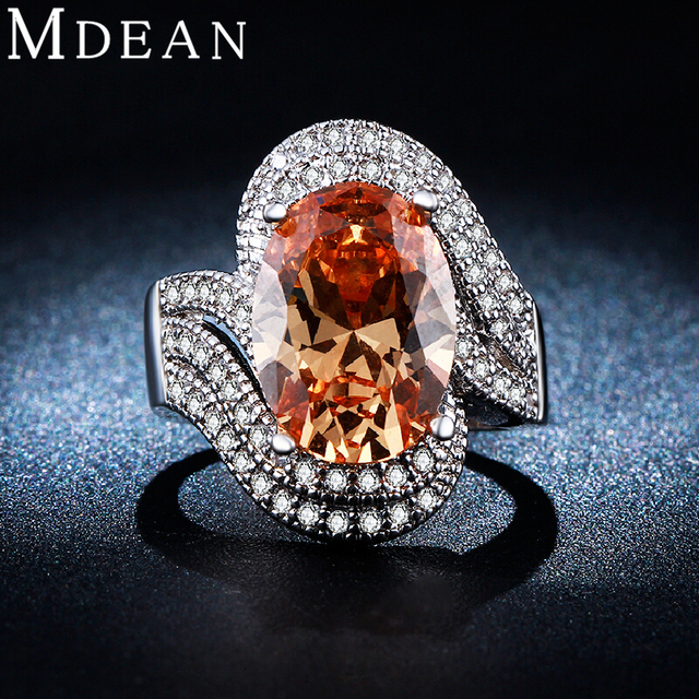 MDEAN White Gold Plated rings for women jewelry Amber gem inlaid AAA CZ diamond jewelry Engagement wedding women rings MSR240