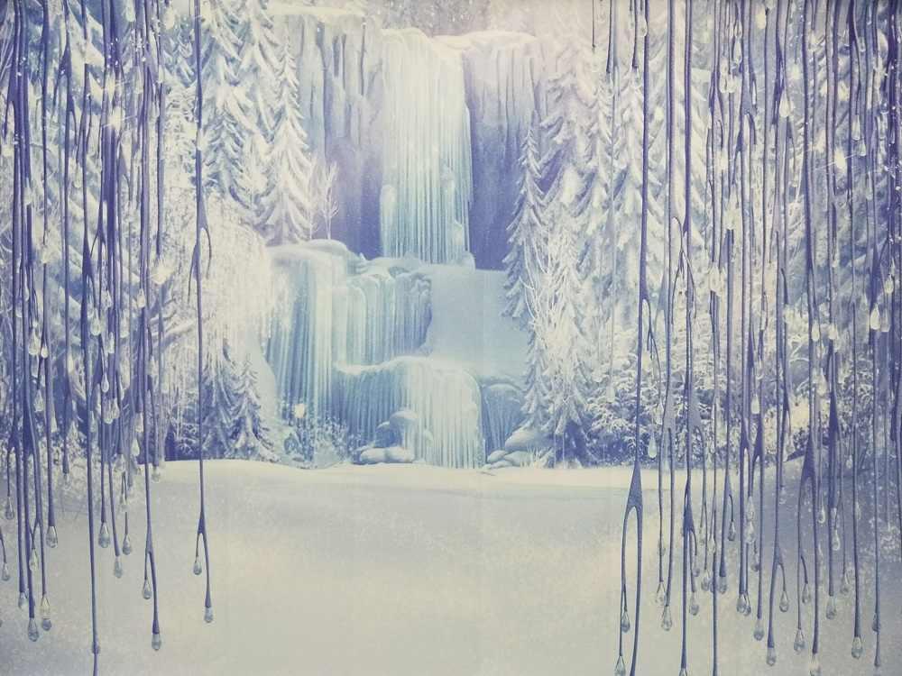 Fotografia Pano de Fundo Congelado Dairy Queen Gelo Moutain Floresta Fria Criança Winter Wonderland Cenário Arte Tecido Recém-nascidos Decor