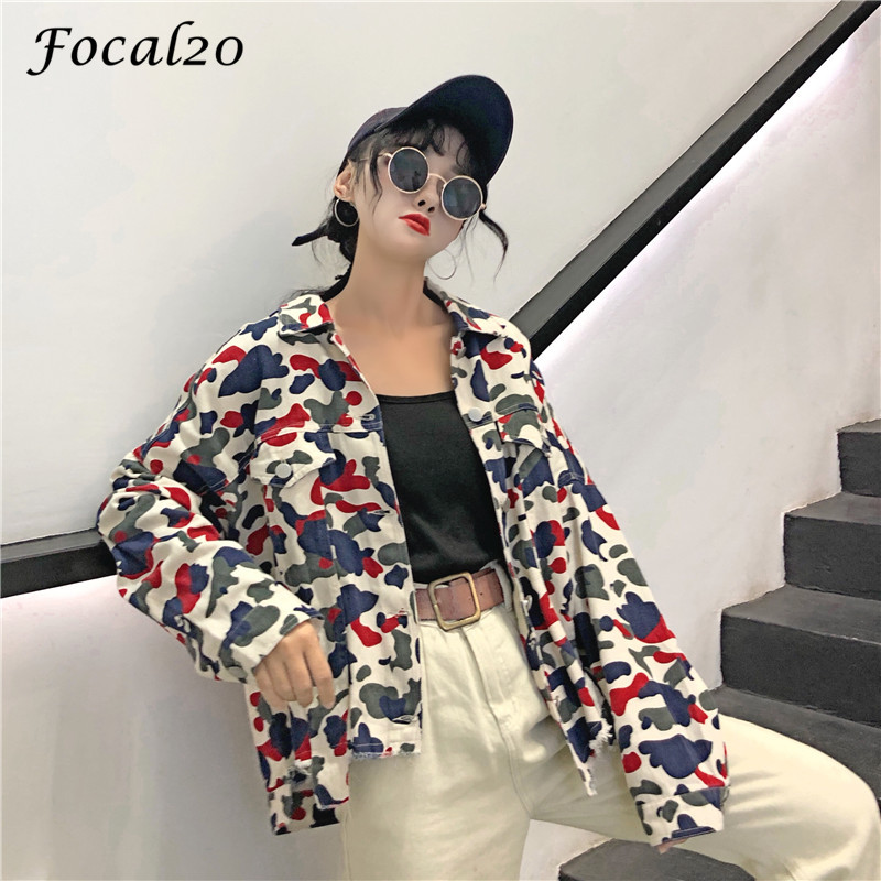 Focal20 Streetwear Camouflage Tassels Ripped Women Jacket Jeans Pockets Turn Down Collar Button Denim Jacket Coat Outwear 3