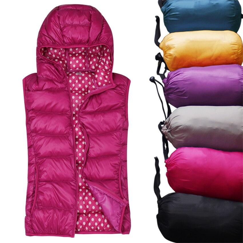 2019 New Autumn Winter Women Light Thin   Down   Jacket Hooded   Coats   Female Slim Sleeveless   Coat   Waistcoat Lady Short Paragraph W783