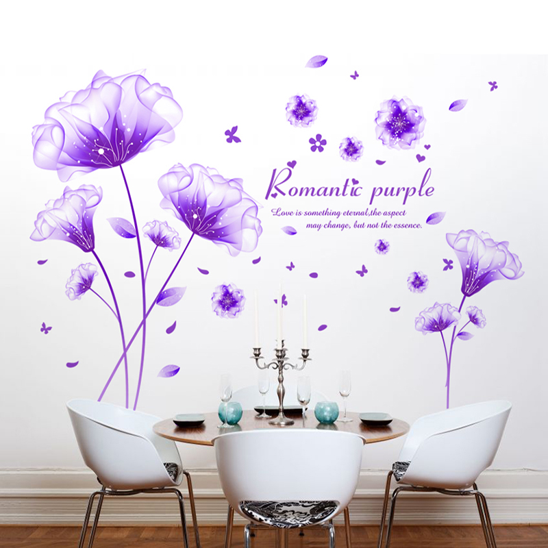 Shijuehezi Flower Wall Sticker Purple Color Romantic Vinyl Material