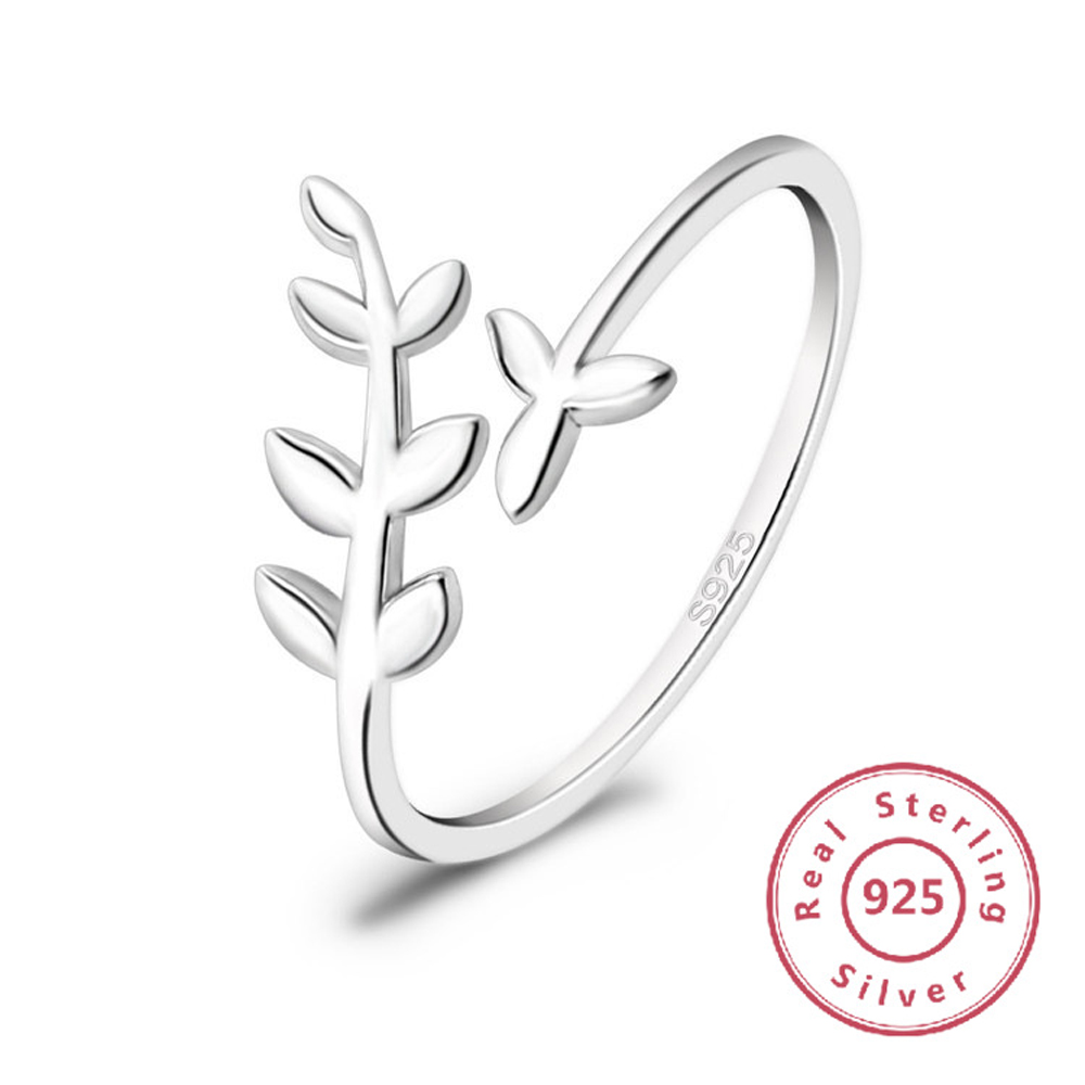 925 sterling silver ring female opening adjustable leaf ring female fashion ring ladies anniversary wedding rings in Rings from Jewelry Accessories