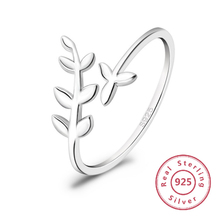 купить 925 sterling silver ring female opening adjustable leaf ring female fashion ring ladies anniversary wedding rings дешево