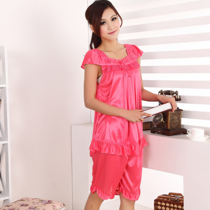 Selling Women Sexy Silk Pajamas Piece, Fashion Lace Short -7613