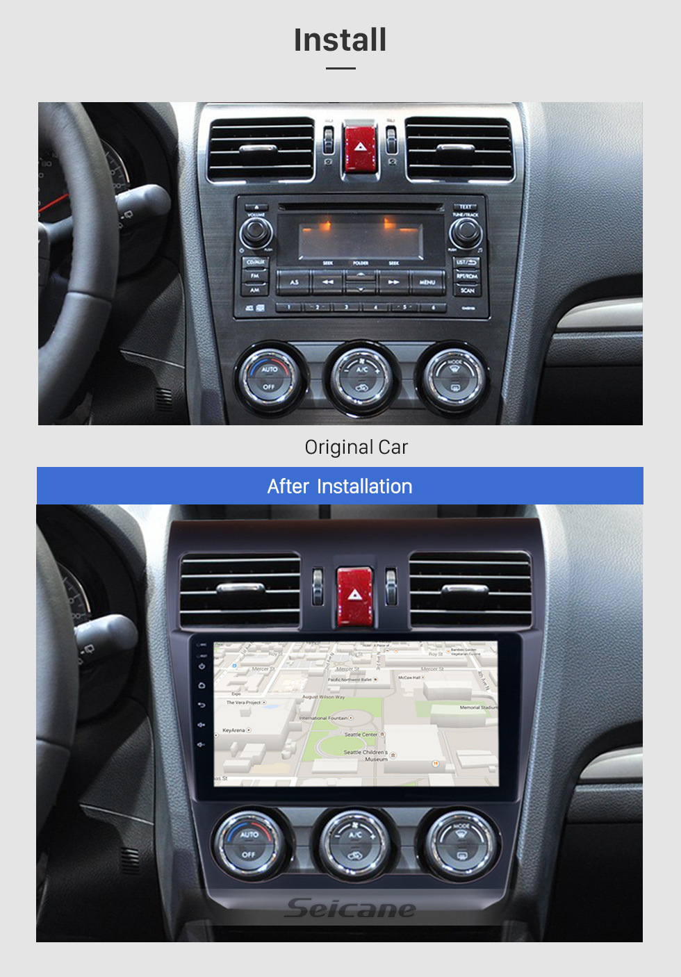 Top Seicane 9 Inch 2din 8-core Android 8.1 Car Radio GPS Multimedia Player For 2015 Subaru Forester support Steering Wheel Control 2