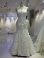 Poemssongs High Quality Vestidos Noivas Halter Neck Appliques Flowers Mermaid Wedding Dresses Vestido De Noiva Custom