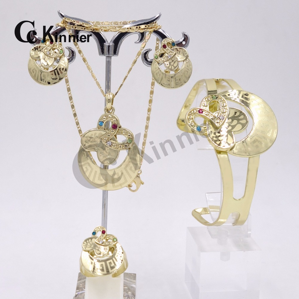 Dubai African fashion women s crystal Wedding Jewelry Sets Rose Gold Circle Pendant Earrings Set with