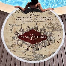 3D Printed Harri Potter Round Beach Towel Absorbent Microfiber Towels For Kids Adults Toalla Carpet Tapestry Blanket