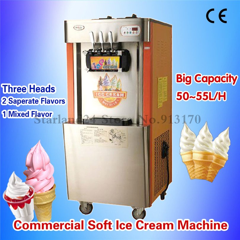 Floor Stand Soft Ice Cream Making Machine Three Heads Sunsae Ice Cream Maker with High Capacity Yield 52~55L/H for Resturants