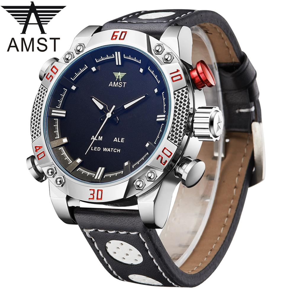 AMST Quartz Watch Men New Mens Watches Top Brand Luxury military Water Resistant Male Alarm Clock WristWatches relogio masculino weide new men quartz casual watch army military sports watch waterproof back light men watches alarm clock multiple time zone