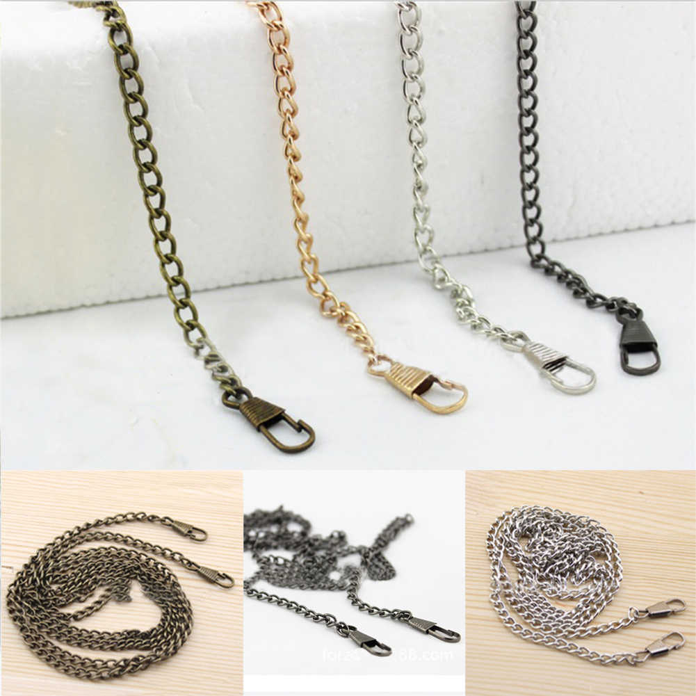 Long 120cm Handbag Metal Chains For Bag DIY Purse Chain With Buckles Shoulder Bag Straps Handbag Handles Bag Parts & Accessories