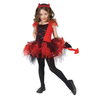 Red Dress With Tiara Tail Cat Girls Toddler Costume Halloween Cosplay Christmas Baby Children Clothing Kids