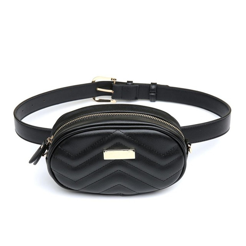 New Women PU Leather Waist Packs Multifunction Women Shoulder Bags Trendy Design Chain Bags Hight Quality