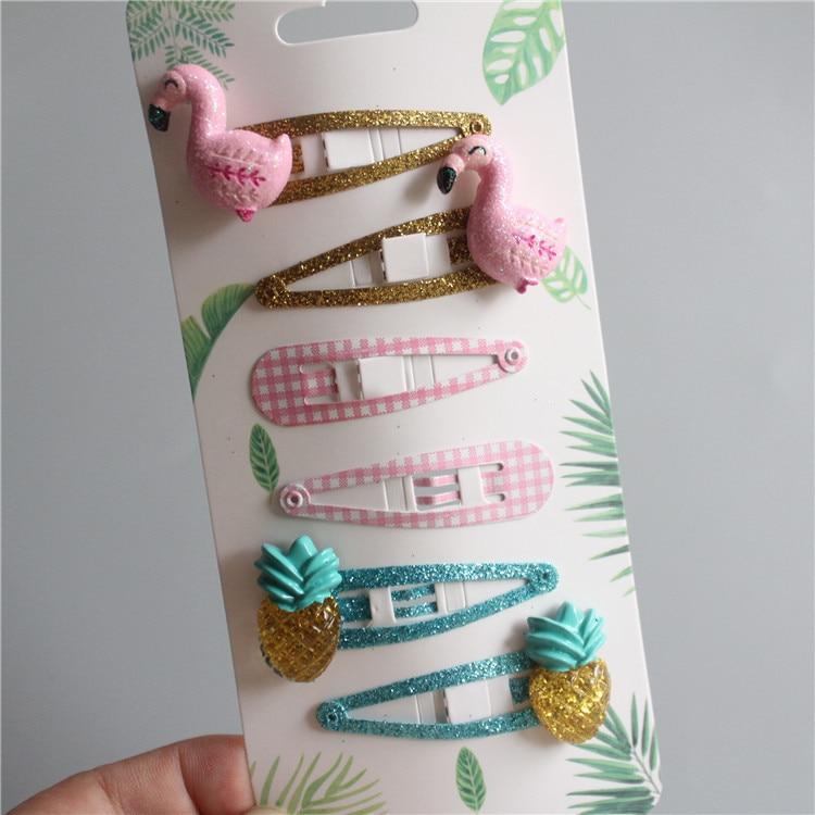 6 PCS Cute Pineapple Flamingo BB Clips Kids Hairpins Children Headwear Baby Hair Clips Headdress Girls Hair Accessories