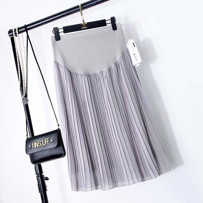 2019 Summer New Long Section Pregnant Women Stomach Lift Skirt A-Line Pleated Skirt Pregnant Woman Skirt