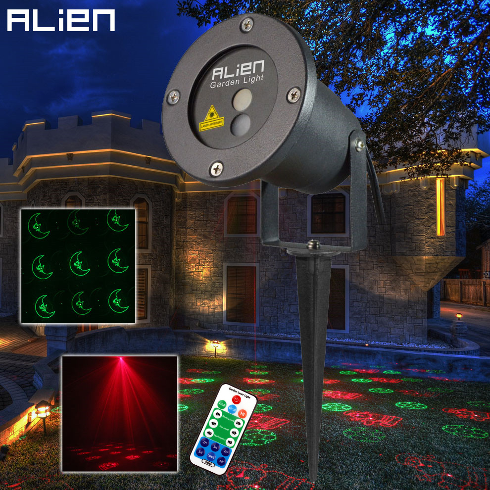 цена на ALIEN RG Christmas Laser Light Projector Remote 12 Patterns Outdoor Waterproof IP65 Garden Stage Xmas Holiday Effect Lighting