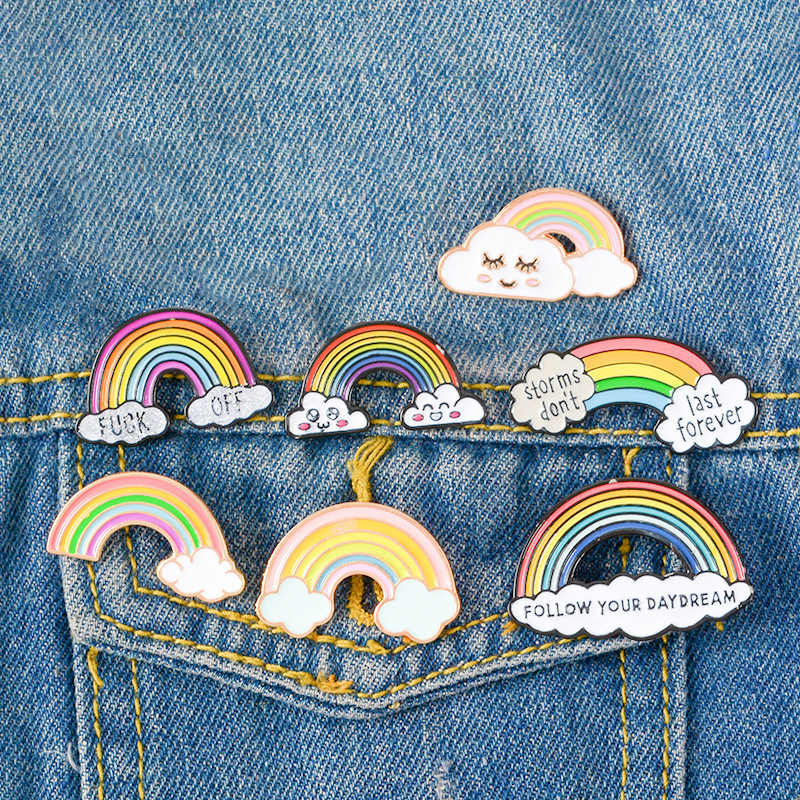 9 Colors 1PC Cartoon CuteRainbow and Clouds Enamel Pin Rainbow Fashion Metal Brooch Pins Badge for Women Men Children Gifts
