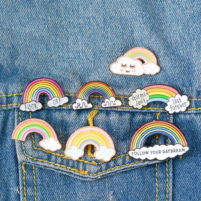 9 สี 1PC การ์ตูน CuteRainbow และเมฆเคลือบ Pin สายรุ้งแฟชั่นโลหะเข็มกลัด Pins Badge สำหรับผู้หญิงผู้ชายเด็กของขวัญ