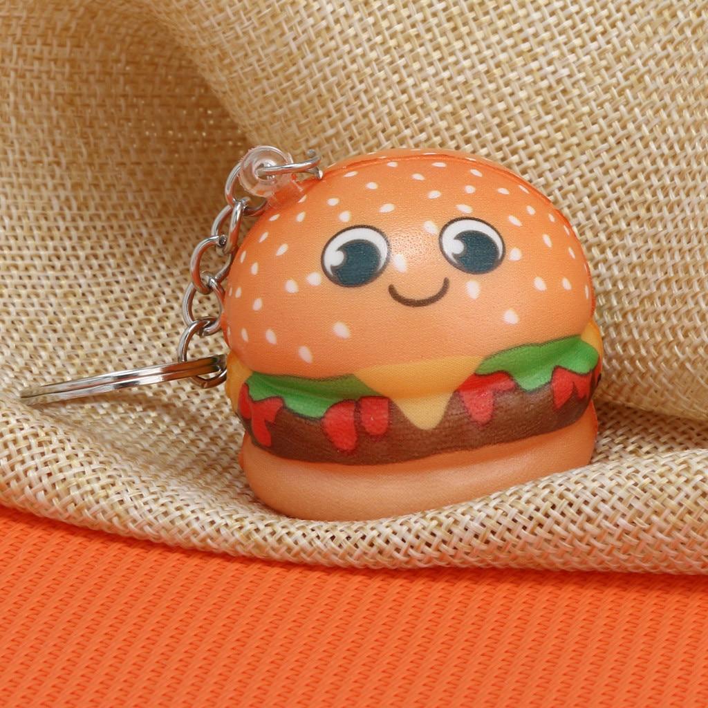 Squishy Cute Kawaii Cartoon Hamburger Slow Rising Cream Scented Keychain Stress Relief  Funny Toys Squish