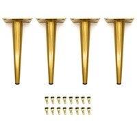4PCS Furniture Cabinet Metal Legs Kitchen Tall Sleek Tapered Legs Brushed Nickel Thread Cabinet Sofa Legs Feet