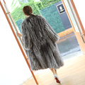 2016 Winter Genuine Silver Fox Fur coat Extra Long Fox Knitted Fur Coat Women's Outwear BE-1650-2 EMS Free Shipping