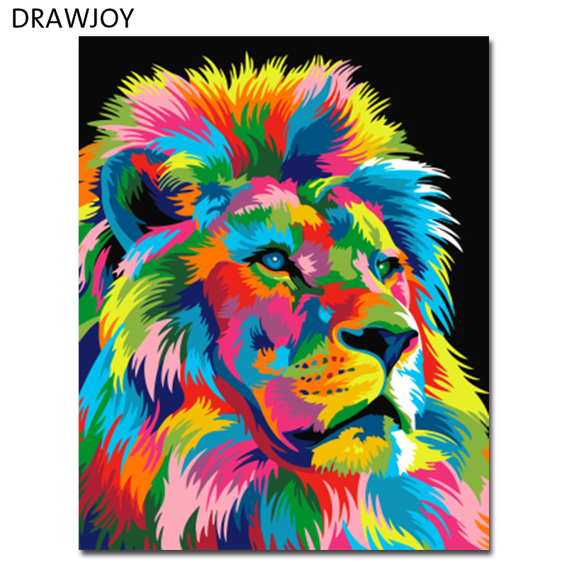 colorful abstract lion framed picture painting. Black Bedroom Furniture Sets. Home Design Ideas