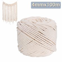 Durable Natural Beige White Macrame Cotton Twisted Cord Rope String DIY Garden Yard Home Textile Accessories Craft 4mmx100m(China)