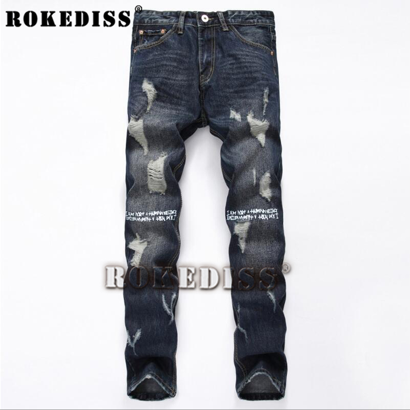 ФОТО Popular Men's robin jeans for men Spring Autumn The tide of youth Personality Ripped B95 Straight pants casual brand-clothing
