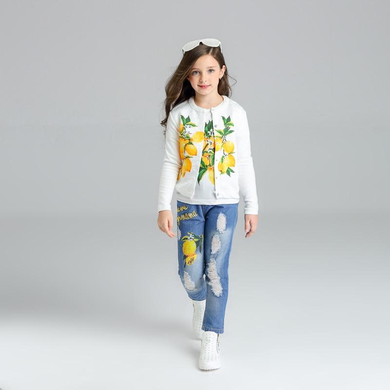 New Spring Autumn Girls Clothes Sets Lemon Suit T-Shirt +Coat+ Worn Hole Denim Pants 3 Piece Suits Fashion Kids Clothing  3-9Y 2017 new spring women maternity t shirt