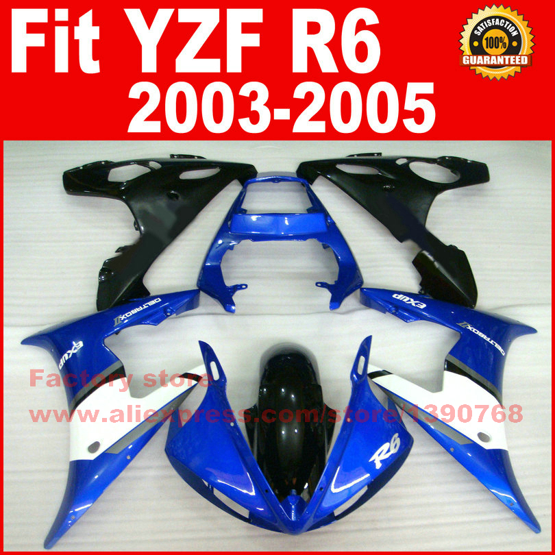 Body kit for YAMAHA R6 fairings 2003 2004 2005 YZF r6 fairing kit 03 04 05 blue white bodywork kits AG97