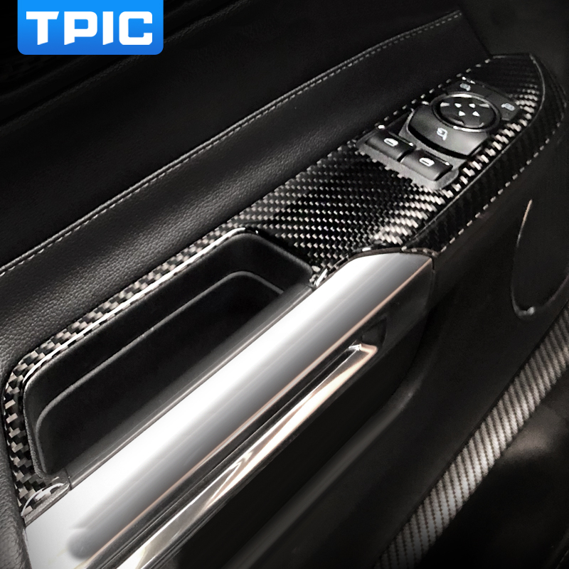 TPIC For Mustang Car Interior Carbon Fiber Window Control Switch Panel Auto Sticker Decor Covers 2015