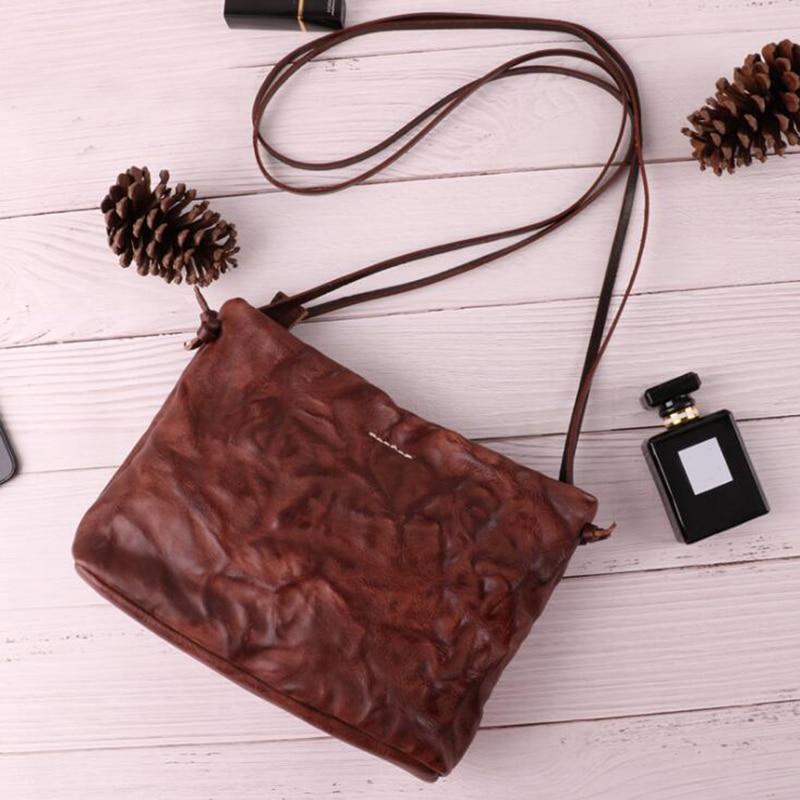 Luxury Women Genuine Leather Shoulder Bags Lady Folded Soft Retro Elegant Shoulder Messenger Bag Cow Leather Handmade Woman Bag аккумулятор defender tesla 5000 83638