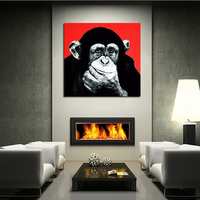 Canvas Painting black white gray wall art animal oil painting funny monkey pictures Gorilla orang canvas art unique gift present