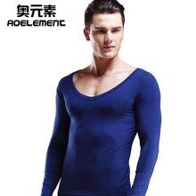 Men's pure cotton V neck warm underwear autumn clothing single low neck bottom shirt long