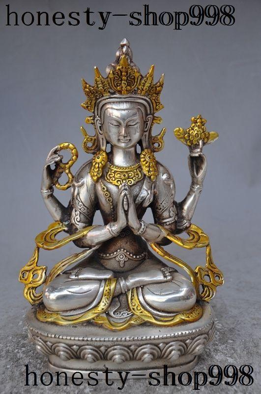 tibet buddhism silver gilt 4 Hand Arms Chenrezig tara kwanyin Goddess buddha statue decoration metal handicrafttibet buddhism silver gilt 4 Hand Arms Chenrezig tara kwanyin Goddess buddha statue decoration metal handicraft
