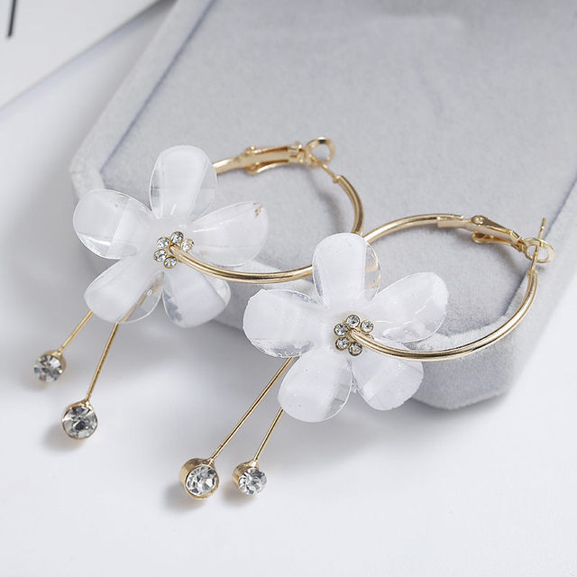 New fashion big circle transparent crystal flower Drop Earrings for Women party jewelry wedding accessories