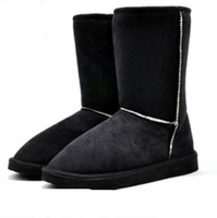 Classic Women Snow Boots Short Leather Winter Shoes Boot With Black Chestnut Gray Women S Fur