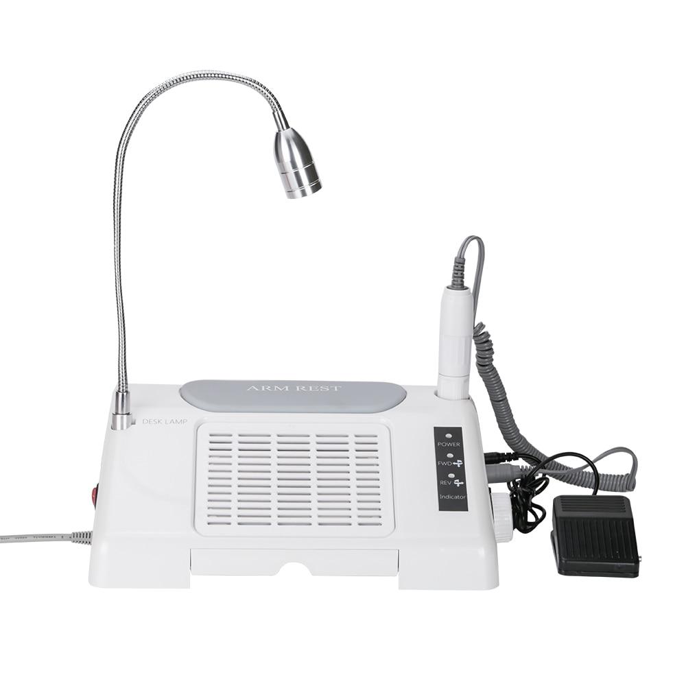3in1 Salon Ongles D'experts Machine Workbench 35000 rpm Nail Forage avec 7 w LED Lampe de Bureau Collecteur de Poussière Cleaner