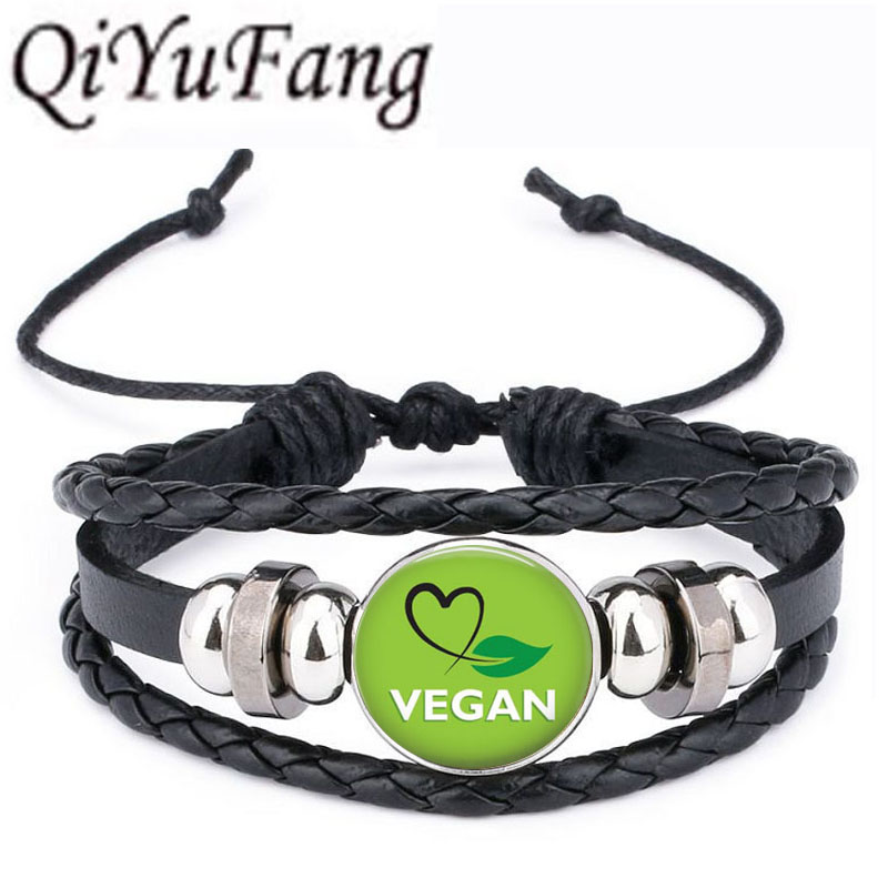 QiYuFang Vegan diet Leather Bracelet vegetarian diet go organic Jewelry Black Multilayers Charms bangle for Womens Mens 1pcs/lot image