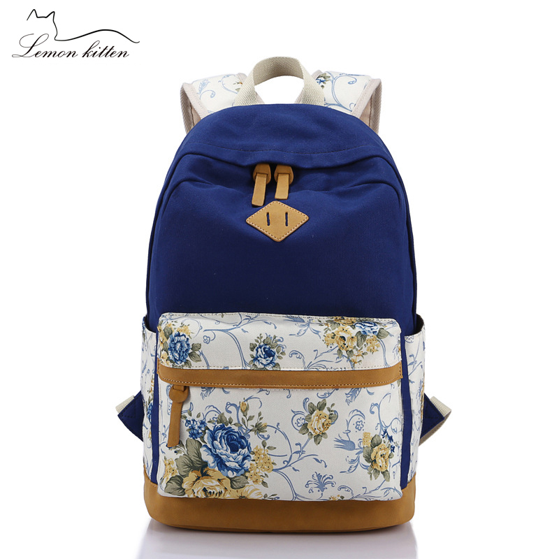 Lemon Kitten Shoulder Bag Student Leisure Canvas Women Backpack Student School Bag Rucksack Backpack For Women Preppy Style