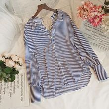 Female Cotton Shirt Women V-neck Sweet Long-sleeved Loose Striped Casual Tie Blouse