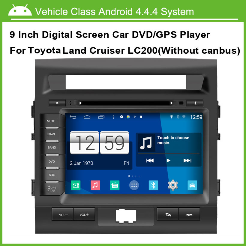 Android Car DVD player FOR Toyota Land Cruiser 200 LC200 GPS Navigation Multi-touch Capacitive screen,1024*600 high resolution
