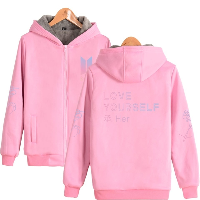 NEW BTS Love Yourself Jacket Logo Hoodie Hoody Sweater Sweatshirt Pullover Longsleeve