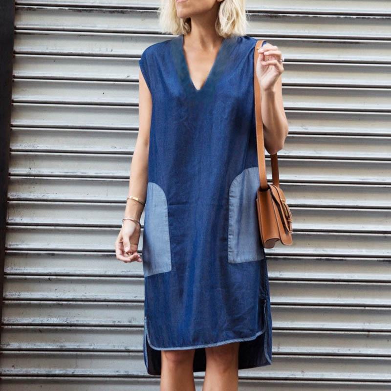 ZANZEA 2018 Summer Fashion Hot Denim Blue Dress Women Casual Elegant V Neck Sleeveless Patch Irregular Short Vestidos Plus Size