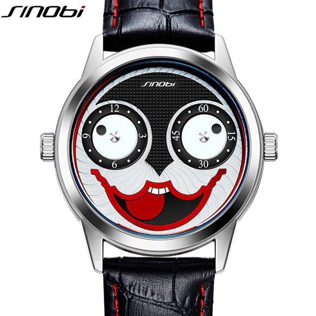 Sinobi hombres Relojes de cuarzo correa de cuero de Moda hombre creativo  Niños payaso Joker reloj 19414d0febc3